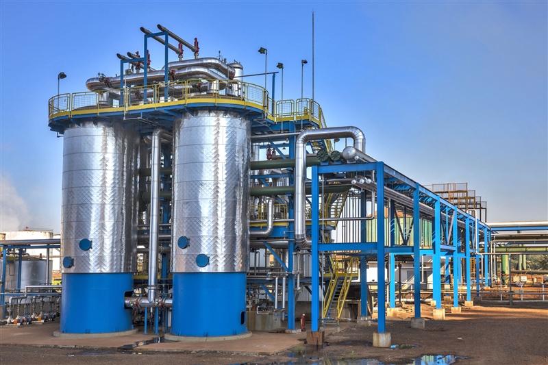 Imagem de uma peneira molecular indústrial