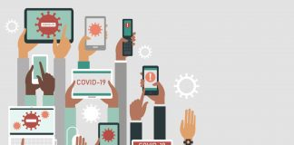 """Ilustração com mãos segurando itens como celulares, tablets e relógios digitais, simbolizando internet das coisas, com telas dos dispositivos mostrando textos escritos """"Covid-19"""" e desenhos de vírus nas telas"""