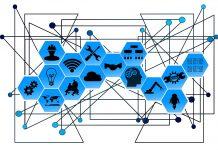 ilustração com ícones que dão ideia de conectividade, conexão, robótica e outras